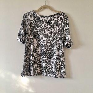 Karen Scott Floral Black & White blouse